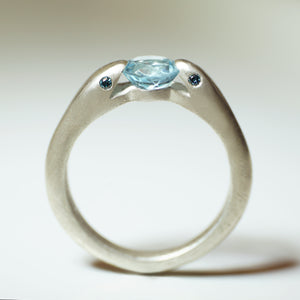Double Headed Snake Ring in Sterling Silver with Aquamarine and London Blue Topaz