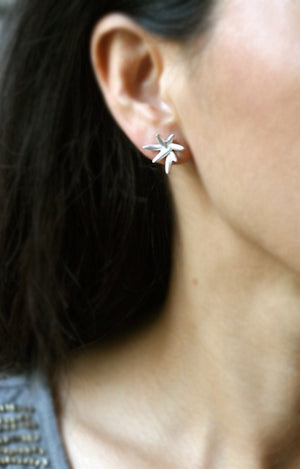 7 Petal Bud Earrings in Sterling Silver
