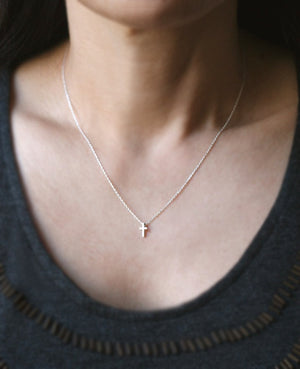 Tiny Cross Necklace in Sterling Silver