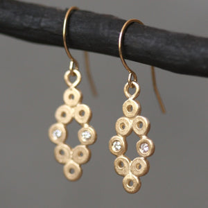 Diamond Shaped Dangle Earrings in 14k Gold with 4 Diamonds