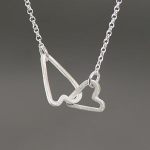 Double Sideways Heart Necklace in Sterling Silver