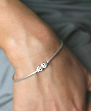Baby Skull Bangle in Sterling Silver