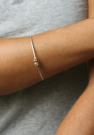 Baby Skull Bangle in 14k Gold and Sterling Silver with Diamonds