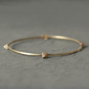 "Low Pyramid Bangle in Brass nuts, bolts, studs,bracelets,geometric low-pyramid-bangle-in-brass 2.5"" Diameter,2.65"" Diameter"