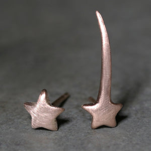 Mismatched Shooting Star Ear Climber and Star Stud Earrings in 10k Gold