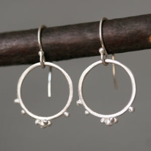 Small Beaded Circle Earrings in Sterling Silver