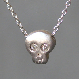 "Baby Skull Necklace in Sterling Silver with Diamonds HALLOWEEN,skulls,necklaces baby-skull-necklace-in-sterling-silver-with-diamonds 16"",17"",18"""
