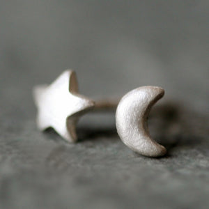 Tiny Moon and Star Stud Earrings in Sterling Silver symbols,earrings tiny-moon-and-star-stud-earrings-in-sterling-silver Default Title