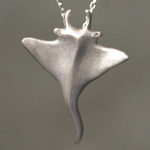 Manta Ray Pendant Necklace in Sterling Silver with Diamonds