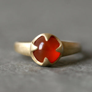 Thorny Cab Ring in Brass with Carnelian