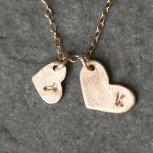 Double Heart Initial Necklace in 10k or 14k Gold