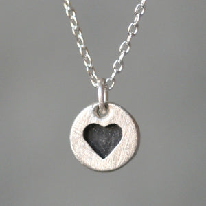 "Black Heart Necklace in Sterling Silver hearts,necklaces black-heart-necklace-in-sterling-silver 16"",17"",18"""