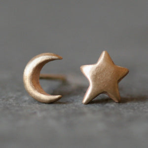 Moon and Star Stud Earrings in 14k Gold symbols,earrings moon-and-star-stud-earrings-in-14k-gold 14K Yellow,14K Pink