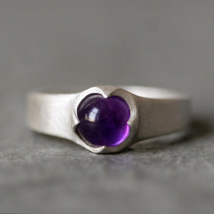 Banded Cab Ring in Sterling Silver with Amethyst nature/organic,rings banded-cab-ring-in-sterling-silver-with-amethyst 4.5,5,5.5,6,6.5,7,7.5,8