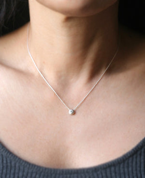 "Solitaire Diamond Ball Necklace in Sterling Silver necklaces,nature/organic,wedding solitaire-diamond-ball-necklace-in-sterling-silver 16"",17"",18"""
