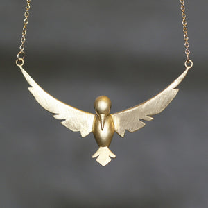 Winged Bird Necklace in Brass with Gemstones