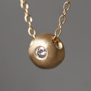 Solitaire Diamond Ball Necklace in 14K Gold