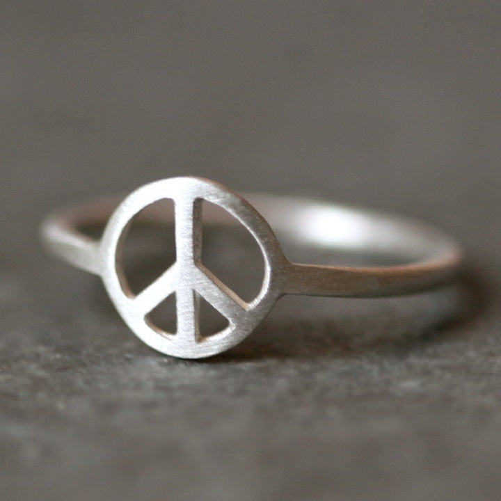 Peace Sign Ring In Sterling Silver Michelle Chang
