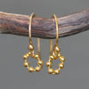 Tiny Beaded Circle Earrings in Gold Plate