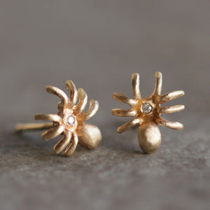 Tiny Spider Earrings in 14k Gold with Diamonds