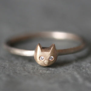Kitty Ring in 14K Gold and Sterling Silver with Diamonds