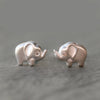 Side Elephant Stud Earrings in Sterling Silver with Diamonds