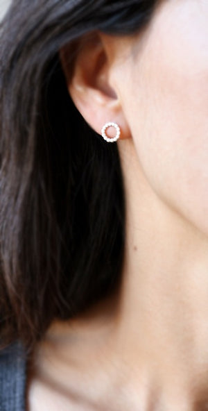 Flat Circle Stud Earrings in Sterling Silver