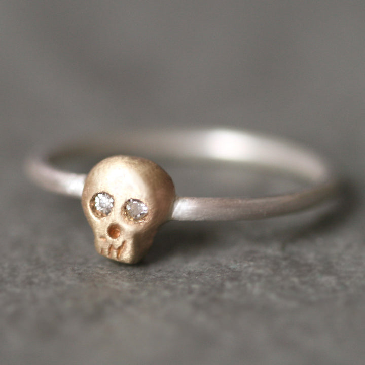 Baby Skull Ring In 14k Gold And Silver With Diamonds Michelle Chang