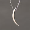 Long Crescent Moon Necklace in Sterling Silver