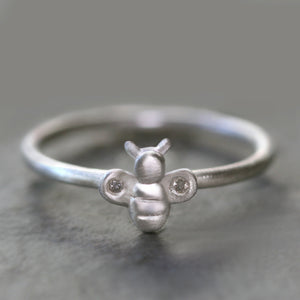 Bee Ring in Sterling Silver with Diamonds