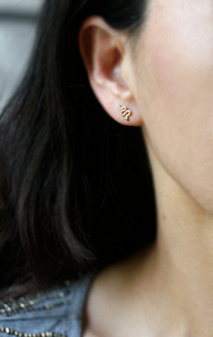 Mini Mismatched Snake Stud Earrings in 14K Gold