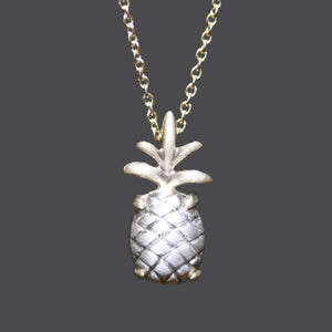 "Pineapple Necklace in Sterling Silver with 14K Gold Setting nature/organic,necklaces pineapple-necklace-in-sterling-silver-with-14k-gold-setting 16"",17"",18"",15"""