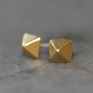 Low Pyramid Stud Earrings in 18K Gold Plate earrings,geometric,nuts, bolts, studs low-pyramid-stud-earrings-in-18k-gold-plate Default Title