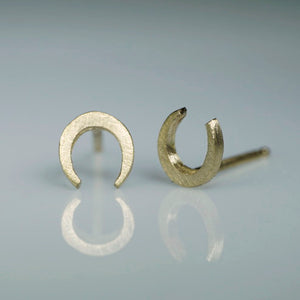 Mini Horseshoe Stud Earrings earrings mini-horseshoe-stud-earrings Sterling Silver,14K Yellow,14K Pink