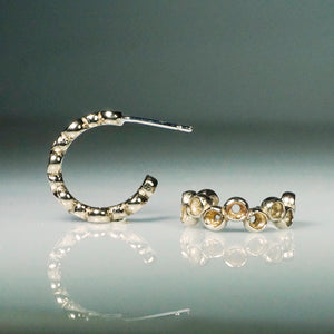 Staggered Bezel Hoop Earrings