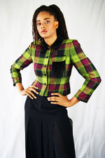 Green and Violet tartan Jacket with Feather Detailing - ULTRA-CAT