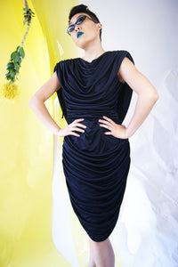 Black Rouched 1980's Party Dress - ULTRA-CAT