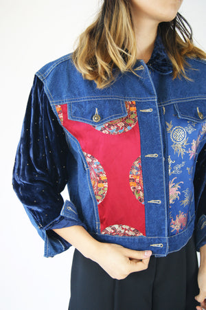 Vintage Jacket with Asian Silk Detailing and Velvet Sleeves - ULTRA-CAT