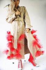 Avant Garde Restructured Coat With Red Flowers - ULTRA-CAT