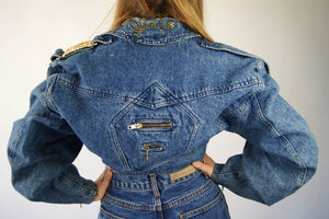 "Vintage 1980's Cropped French Denim Jacket With Golden Detailing, Looks Like It Is Straight From ""Glee"" - ULTRA-CAT"