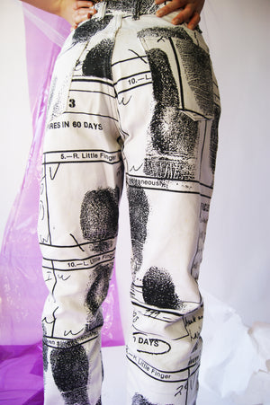Vintage Novelty Pants With Whimsical FingerPrints - ULTRA-CAT