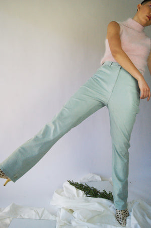 REAL Ostrich Leather Sea Foam Colored Vintage Pants - ULTRA-CAT