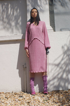 Unique Pleated Pink Dress - ULTRA-CAT