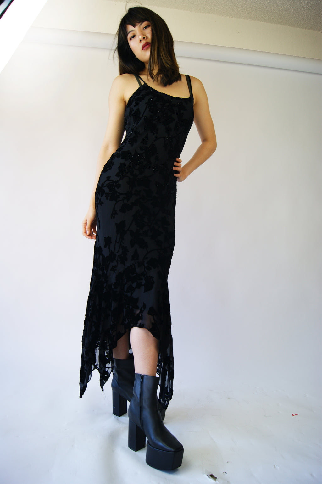 1990's Silk Slip Dress With Velvet Detailing - ULTRA-CAT