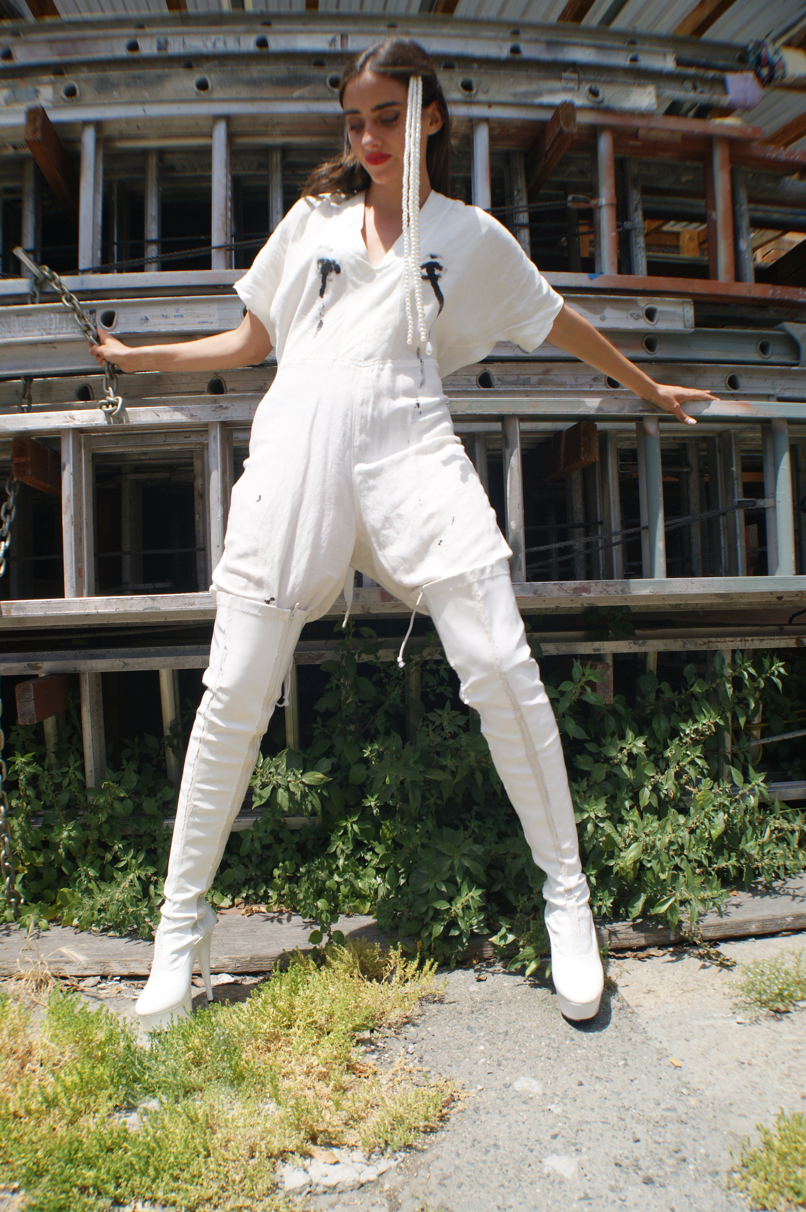 "White Linen Jumpsuit With Avant Garde ""Crying Eyes"""