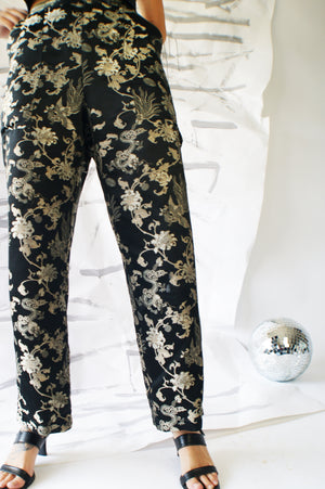 Brocade Printed Satin Pants - ULTRA-CAT