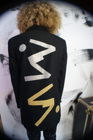 Abstract Hand Painted Wool Blazer - ULTRA-CAT