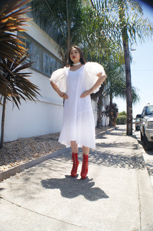 Unique Upcycled Angelic White Dress With Puffy Sleeves