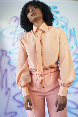Apricot Pussy Bow Blouse - ULTRA-CAT