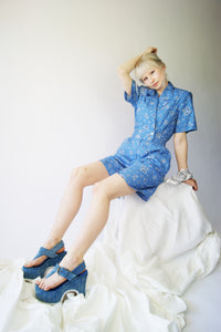 1980's Blue Bandanna Romper - ULTRA-CAT